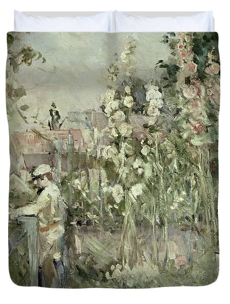 Young Boy In The Hollyhocks Duvet Cover by Berthe Morisot