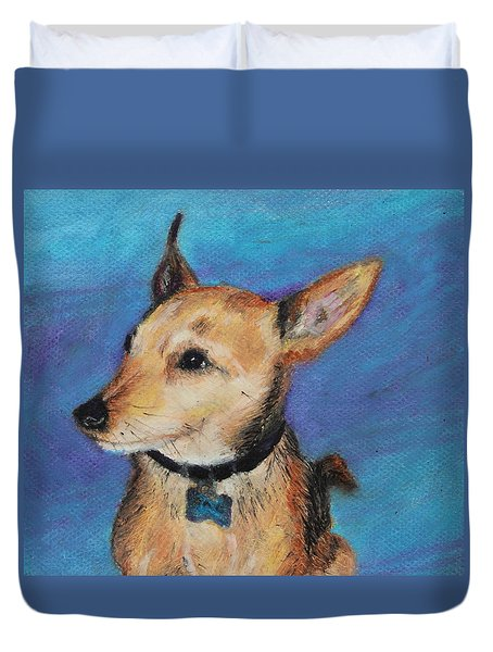 Duvet Cover featuring the painting Zack by Jeanne Fischer