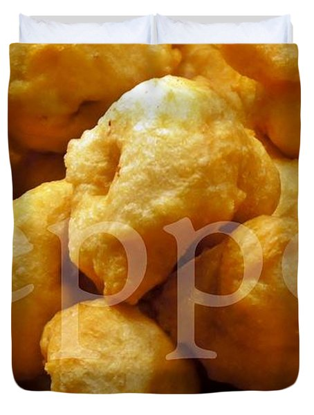 Duvet Cover featuring the photograph Zeppoli by Lilliana Mendez