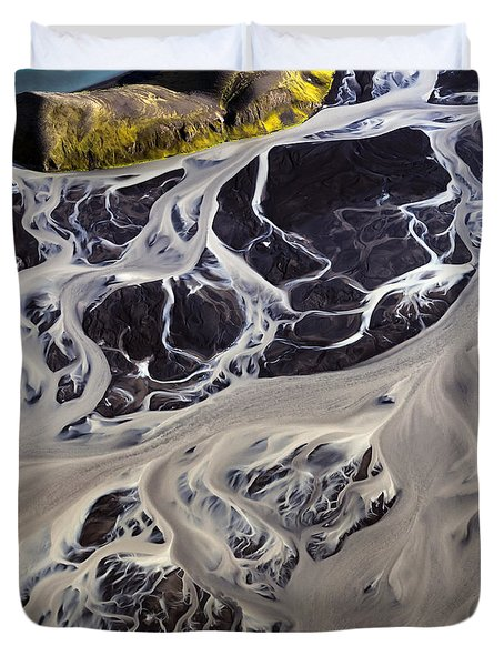 Iceland Aerial Photo Duvet Cover