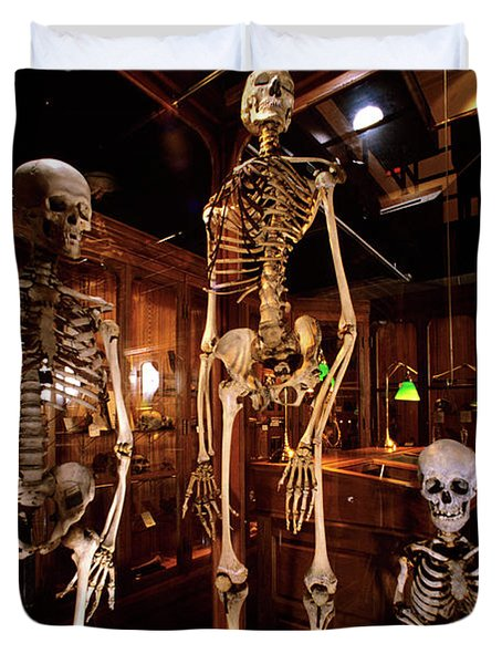2000s Three Human Skeletons Displayed Duvet Cover