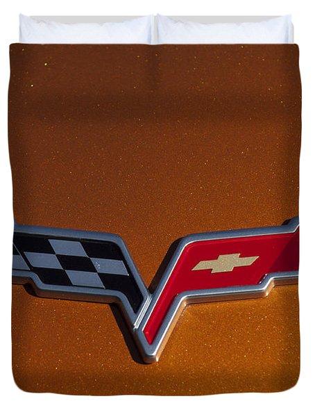 2007 Chevrolet Corvette Indy Pace Car Emblem Duvet Cover by Jill Reger