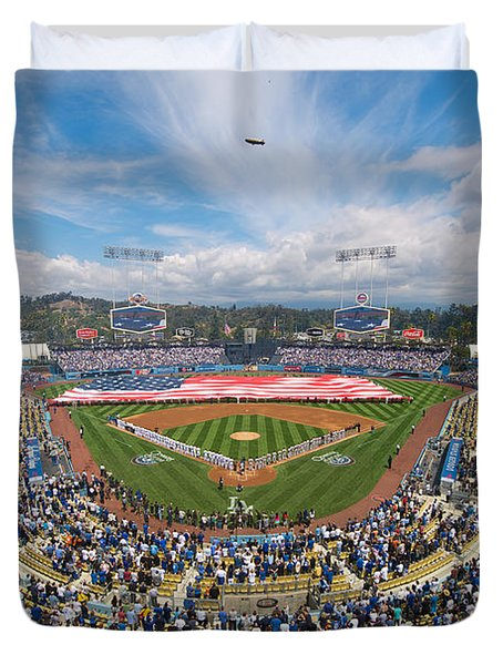 2013 Los Angeles Dodgers Season Opener Duvet Cover