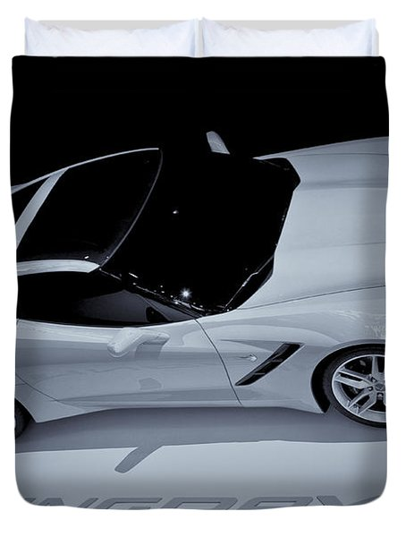 2014 Chevy Corvette  Bw Duvet Cover by Rachel Cohen