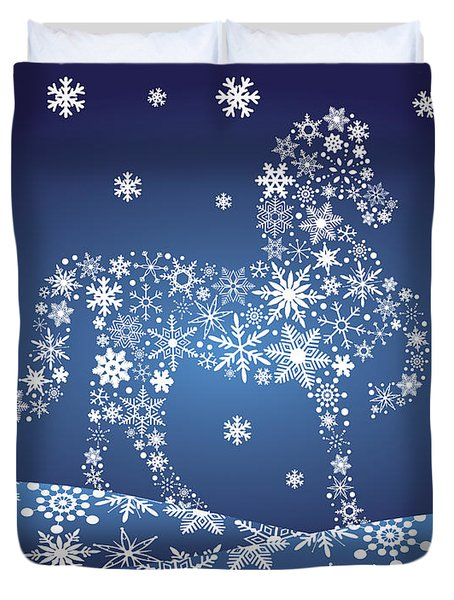 2014 Chinese Horse With Snowflakes Night Winter Scene Duvet Cover