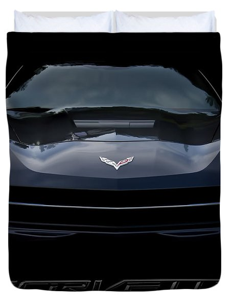2014 Corvette With Emblem Duvet Cover