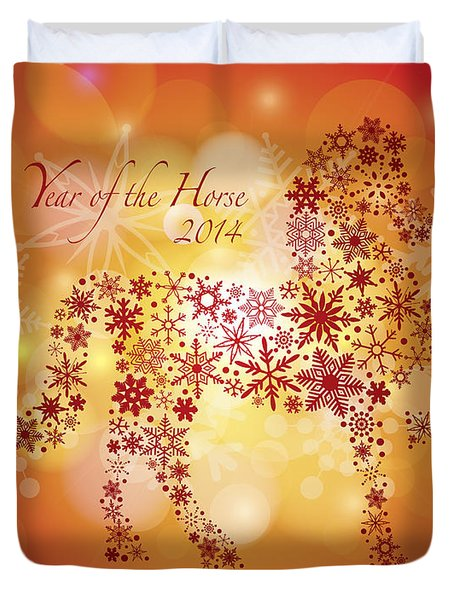 2014 Happy New Year Of The Horse With Snowflakes Pattern Duvet Cover