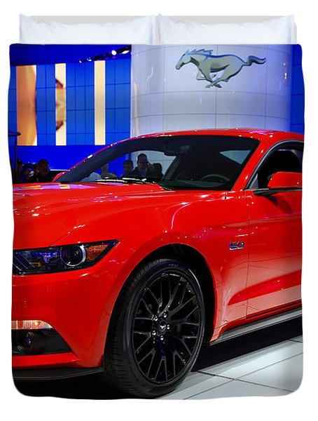2015 Mustang In Red Duvet Cover by Rachel Cohen