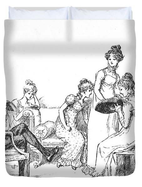Scene From Pride And Prejudice By Jane Austen Duvet Cover by Hugh Thomson