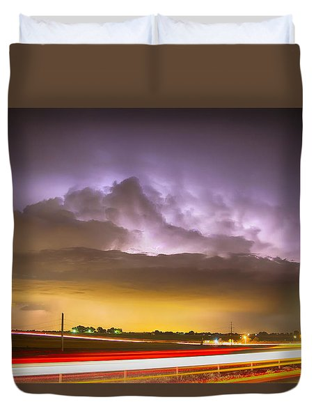 25 To 34 Intra-cloud Lightning Golden Light Car Trails Duvet Cover by James BO  Insogna