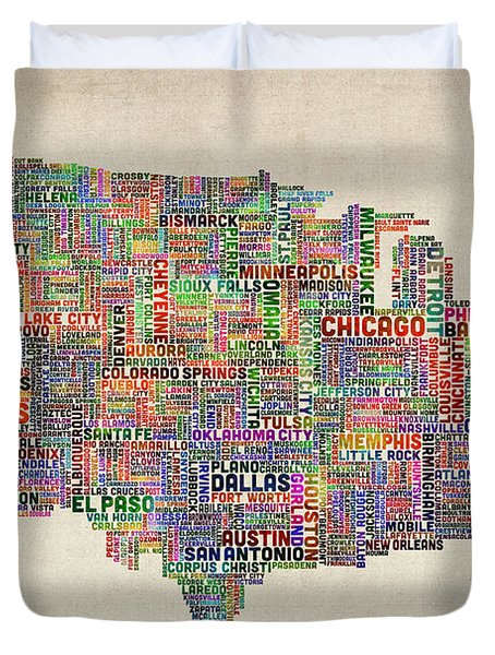 United States Typography Text Map Duvet Cover