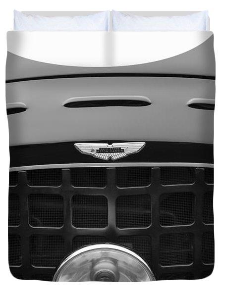 1952 Aston Martin Db3 Sports Hood Emblem Duvet Cover by Jill Reger