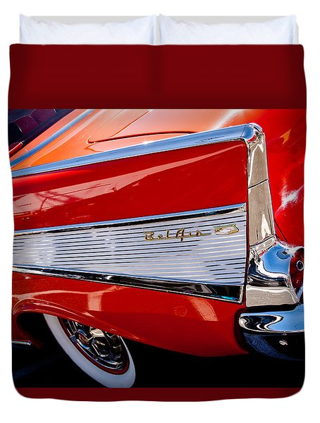 1957 Chevy Bel Air Custom Hot Rod Duvet Cover by David Patterson