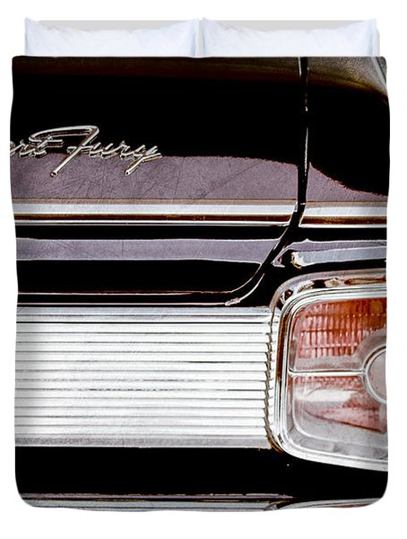 1963 Plymouth Sport Fury Taillight Emblem Duvet Cover by Jill Reger