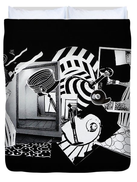 2d Elements In Black And White Duvet Cover