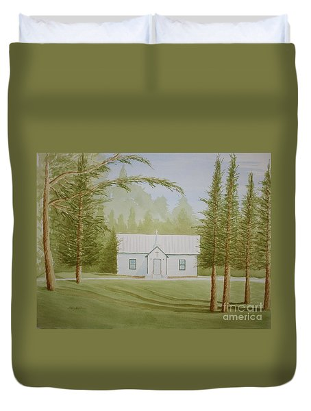 Duvet Cover featuring the painting A North Carolina Church by Stacy C Bottoms