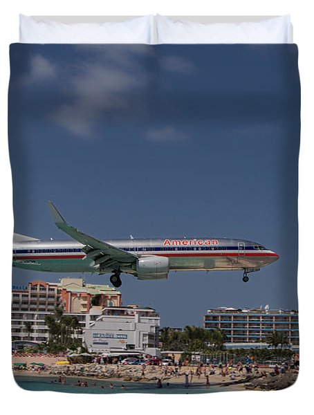 American Airlines At St. Maarten  Duvet Cover