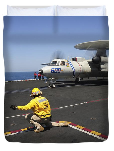 An E-2c Hawkeye Launches Duvet Cover by Stocktrek Images