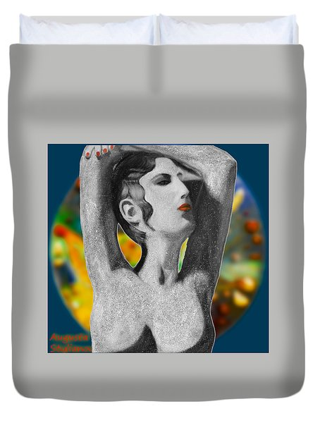 Aphrodite And  Cyprus Map Duvet Cover by Augusta Stylianou