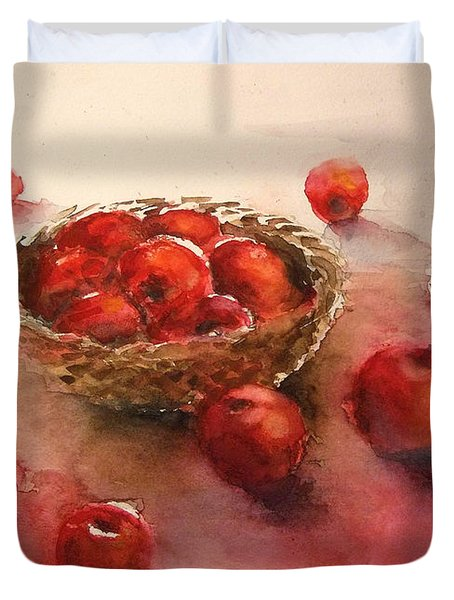 Apples  Apples Duvet Cover by Yoshiko Mishina