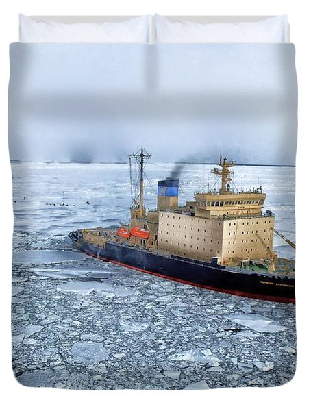 Duvet Cover featuring the photograph Arctic Sea Ocean Water Antarctica Winter Snow by Paul Fearn