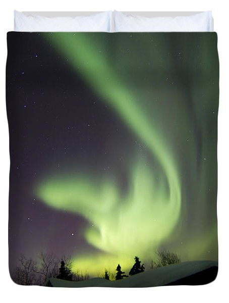 Aurora Borealis And The Big Dipper Duvet Cover by Joseph Bradley