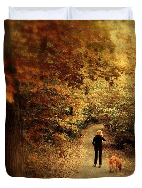 Autumn Stroll Duvet Cover by Jessica Jenney