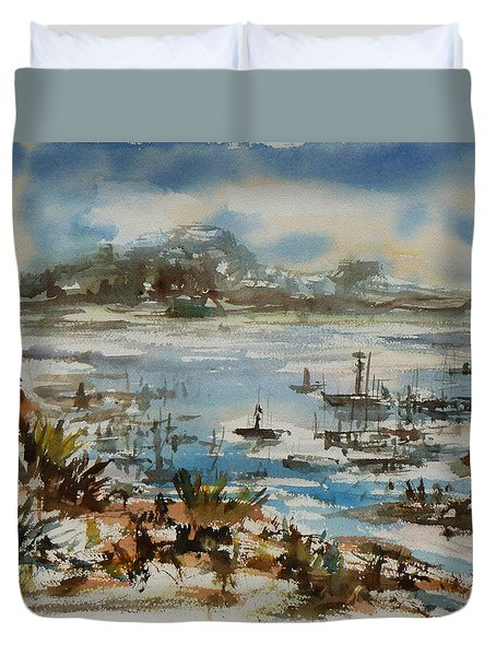 Duvet Cover featuring the painting Bay Scene by Xueling Zou