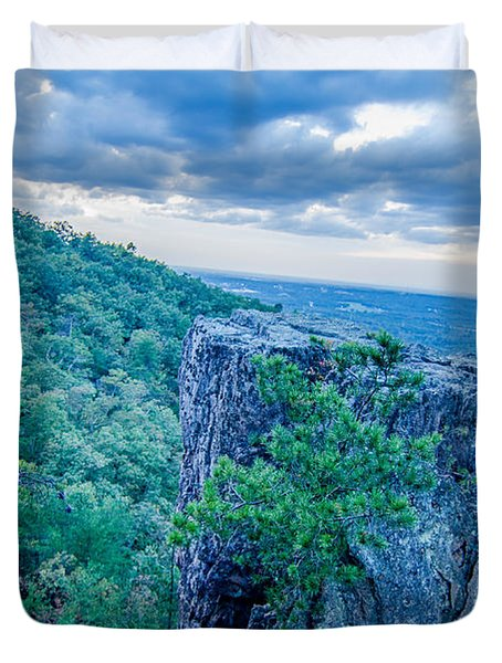 Beautiful Aerial Landscape Views From Crowders Mountain Near Gas Duvet Cover