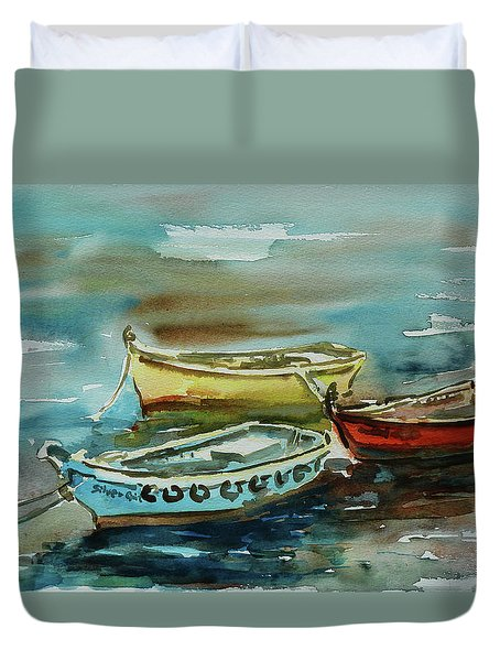 3 Boats II Duvet Cover by Xueling Zou
