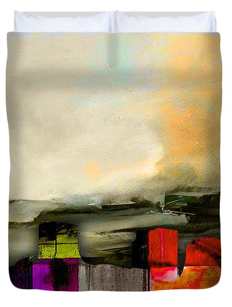 Boston Skyline Watercolor Duvet Cover