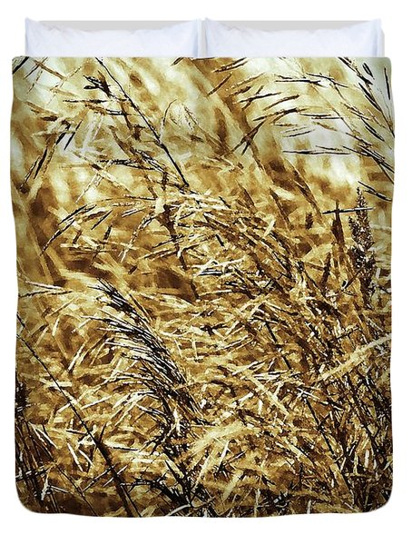 Brome Grass In The Hay Field Duvet Cover by J McCombie