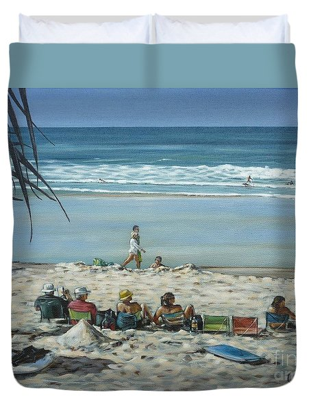 Duvet Cover featuring the painting Burleigh Beach 220909 by Selena Boron