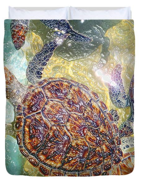 Cayman Turtles Duvet Cover by Carey Chen