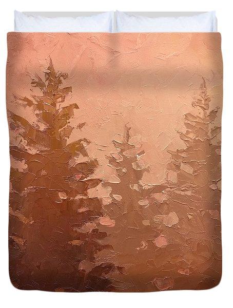 3 Cedars In The Fog No. 1 Duvet Cover