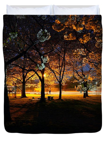 Cherry Blossoms At Night Duvet Cover
