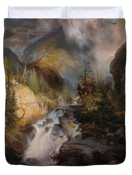 Children Of The Mountain Duvet Cover by Thomas Moran