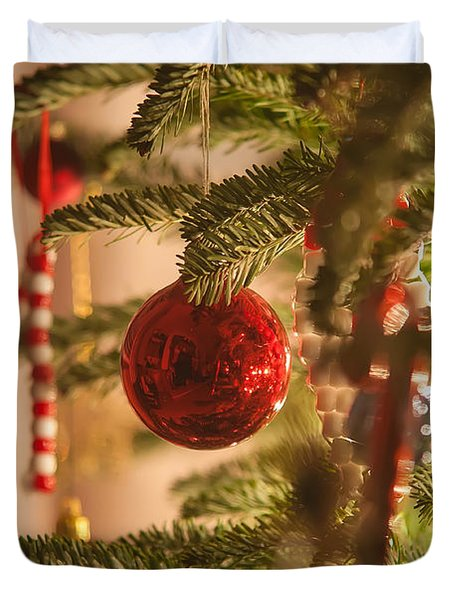Duvet Cover featuring the photograph Christmas Tree Ornaments by Alex Grichenko