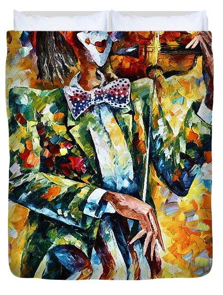Clown Duvet Cover by Leonid Afremov