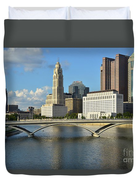 Columbus Ohio Skyline Photo Duvet Cover