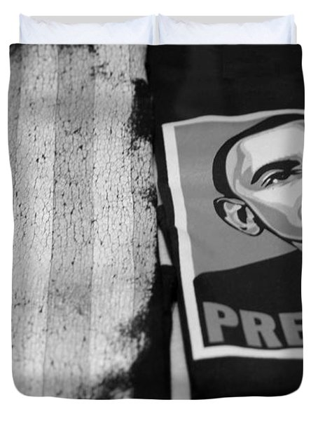 Commercialization Of The President Of The United States Of America In Black And White Duvet Cover by Rob Hans