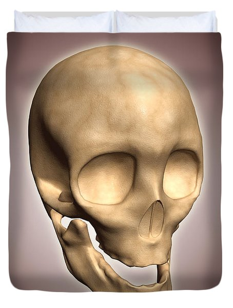 Conceptual Image Of Human Skull Duvet Cover by Stocktrek Images