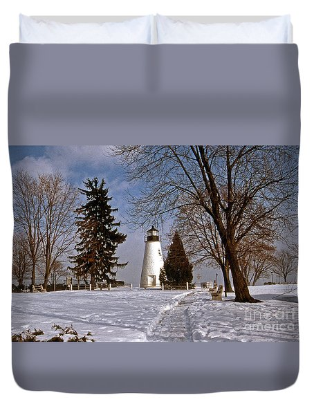 Concord Point Lighthouse Duvet Cover by Skip Willits