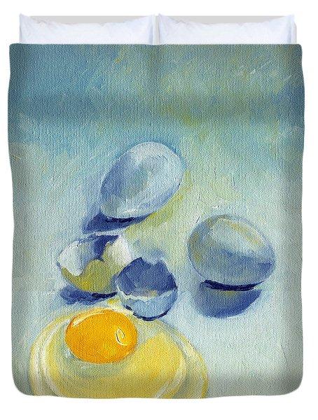 3 Eggs On Blue Duvet Cover