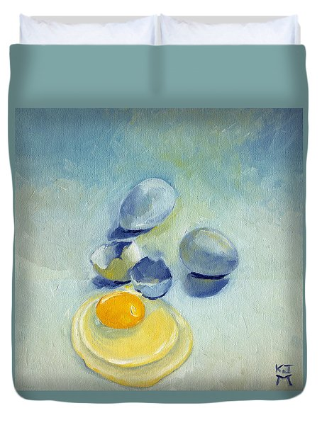 3 Eggs On Blue Duvet Cover