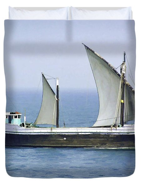 Fishing Vessel In The Arabian Sea Duvet Cover by Ashish Agarwal