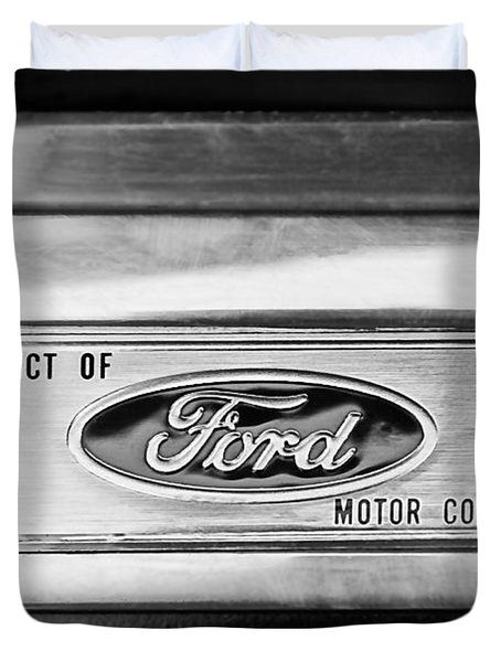 Powered By Ford Emblem -0307bw Duvet Cover by Jill Reger