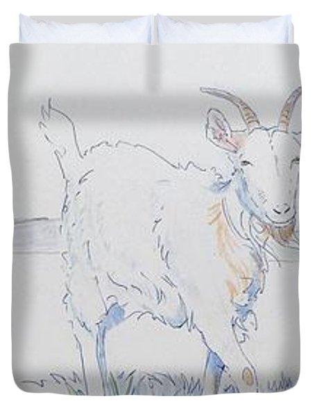 Goat Drawing Duvet Cover