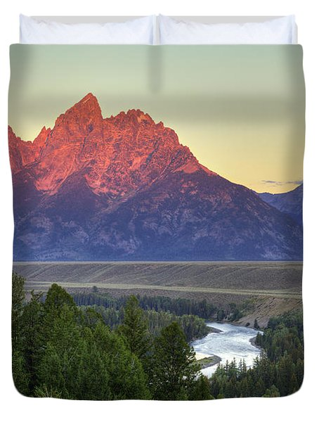 Duvet Cover featuring the photograph Grand Tetons Morning At The Snake River Overview - 2 by Alan Vance Ley