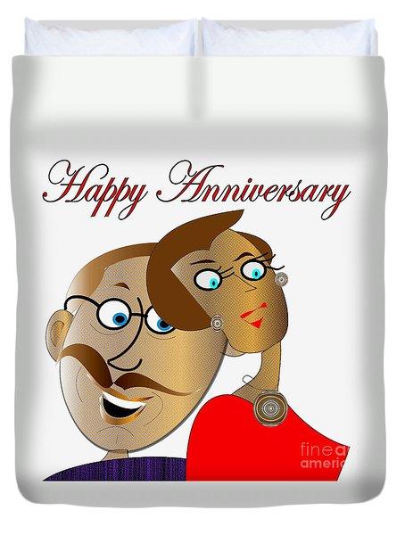 Happy Anniversary Duvet Cover by Iris Gelbart